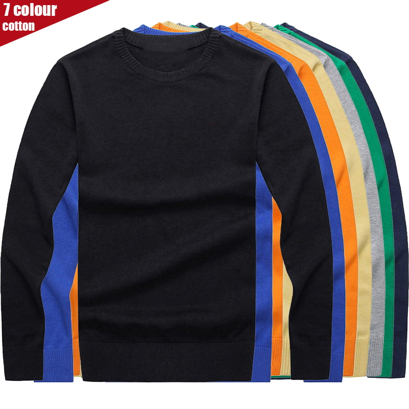 7 Colour Mens Cotton Sweater Pullovers Men O-neck Sweaters Jumper Black Autumn Thin Male Solid Knitting Clothing Grey Black M-3x