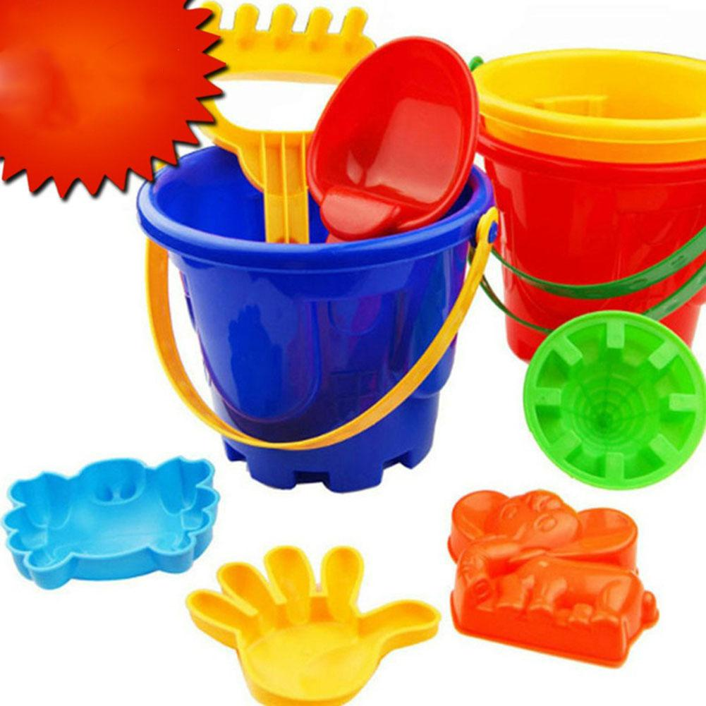6PCS Kids' Colorful Beach Toy Set With 1 Pail, 1 Rake, 1 Dipper And 3 Moulds In A Mesh Bag