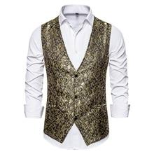 Puimentiua Mens Deluxe Golden Palace Suit Vest Print Steampunk Prom Wedding Formal Men