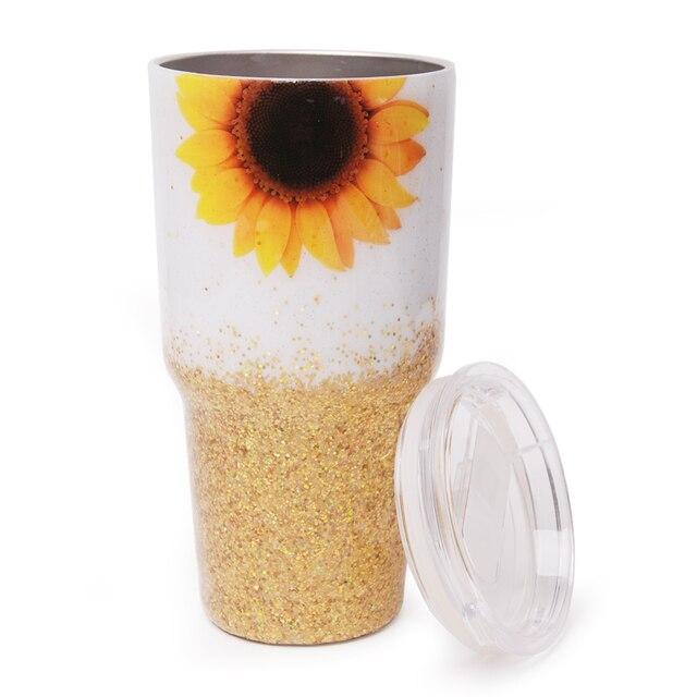 30 أوقية الايبوكسي الذهب عباد الشمس بهلوان بريق الجاموس منقوشة كأس الفولاذ المقاوم للصدأ هدية الكريسماس للمياه حامل DOM1172