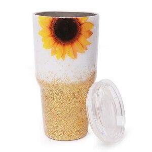 Image 1 - 30oz אפוקסי זהב חמניות כוס גליטר באפלו משובץ נירוסטה כוס מתנה לחג המולד עבור מים מחזיק DOM1172