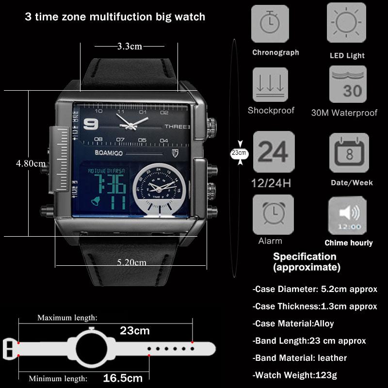Marka boamigo mężczyźni sport zegarki 3 strefa czasowa big man moda wojskowy zegarek led skórzane zegarki kwarcowe relogio masculino 5