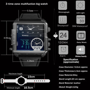 Image 5 - BOAMIGO brand men sports watches 3 time zone big man fashion military LED watch leather quartz wristwatches relogio masculino
