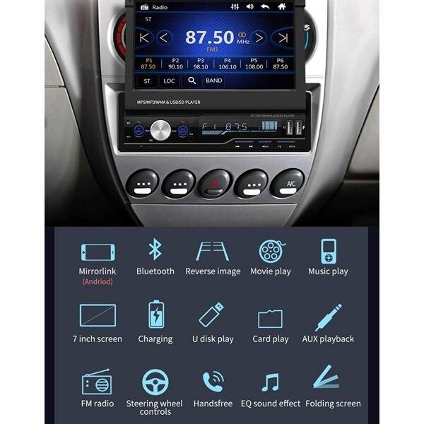 7 Polegada rádio de áudio estéreo do carro 1 jogador do ruído mp5 com tela dobrável da imprensa am/fm receptor bluetooth gps aux usb sd swc + um backup ca - 6