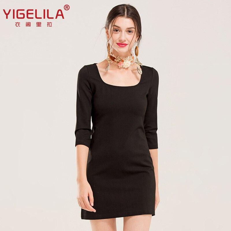 Yigelila2019 Herbst Neue Stil Schwarz Und Weiß mit Muster Quadrat Kragen Drei viertel länge Hülse Taille Umarmt Kleid 61362 - 3