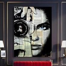 Modulare Drucke Bilder Home Dekoration Gemälde Leinwand 1 Stück Frau Zeitung Kamera Poster Moderne Schlafzimmer Wand Kunst Rahmen