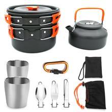 цена на Ultra light Outdoor Cooking Set Camping Portable Cookware Fishing Climbing Cooking Pan Pot Firewood stove Cup Picnic Folk Knife