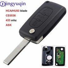 Jingyuqin 10Ps Voor Peugeot Citroen C3 C5 HU83 Blade CE0536 Flip Afstandsbediening Sleutel 3B Met Kofferbak Vragen 434mhz Remote Printplaat