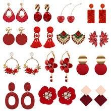 Elegant Geometric Round Red Color Sweet Drop Earrings for Women Pearl Flower Cherry Wedding Earrings Tassel Brincos Jewelry 2020