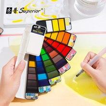 Conjunto de pintura de acuarela sólida Superior, 18/25/33/42 colores, cepillo de brillo básico, suministros de pintura de dibujo, suministros de arte para Artista