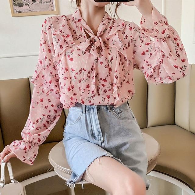 Long Sleeve Ruffles V-Neck Print Chiffon Blouse Shirt Women Tops Blusa Blusas Mujer De Moda 2021 Womens Tops And Blouses D820 3