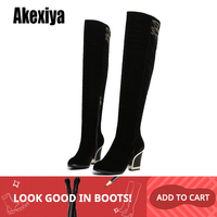 2019 new Women Knee High Boots suede Metal Fashion Boots Winter Footwear Shoes Zipper Chunky Heels Metal decoration y960