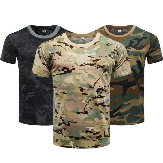 Camouflage Tactical Shirt Short Sleeve Men's Quick Dry Combat T-Shirt Military Army T Shirt Camo Outdoor Hiking Hunting Shirts 1