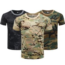 Camouflage chemise tactique à manches courtes hommes à séchage rapide Combat T-Shirt armée militaire T-Shirt Camouflage en plein air randonnée chasse chemises