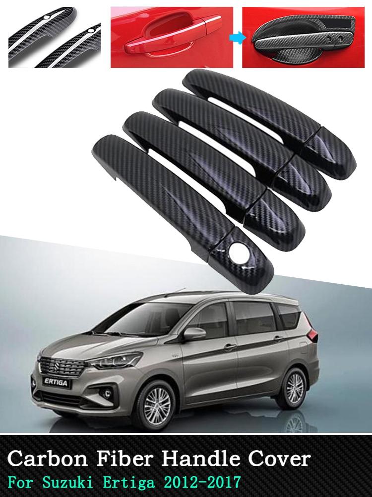 For Suzuki Ertiga Chrome Carbon Car Exterior Accessories Door Handle Cover Stickers 4 Door 2012 2013 2014 2015 2016 2017