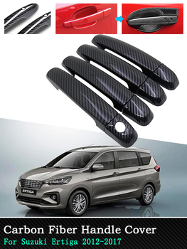 For Suzuki Ertiga Chrome Carbon Car Exterior Accessories Door Handle Cover Stickers 4 Door 2012 2013 2014 2015 2016 2017 image