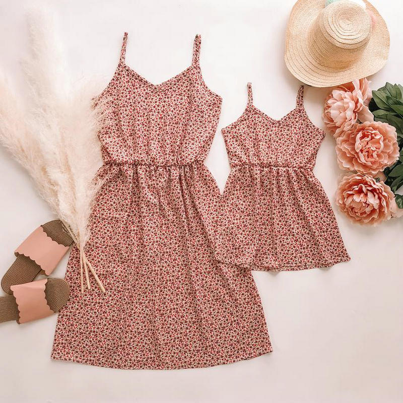 Mommy And Me Clothes 2020 Plus Size Summer Sleeveless Dress For Family Look Matching Outfits Twinning Mother Daughter Dresses