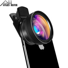 цена на PINZHENG Mobile Phone Lens For Phone Smart 0.45X Wide Angle 12.5X Micro Cell Phone Camera Lens For iPhone X 11 Xiaomi Cellphoone