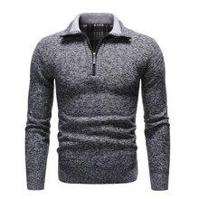 NEGIZBER 2019 nowa jesienna zima męskie swetry swetry Slim Fit w jednolitym kolorze męskie swetry Casual gruby polar sweter z golfem mężczyzn