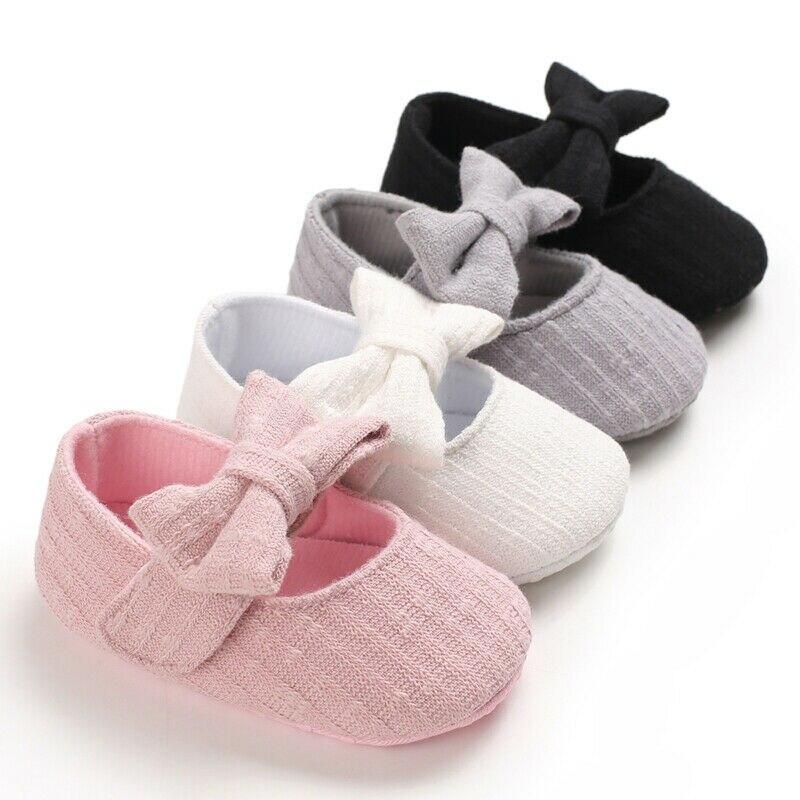 Princess Bowknot Baby Girl Shoes Newborn Infant Soft Sole Prewalkers Anti-slip Moccasins Pram Mary Jane Girls Cotton Crib Shoes