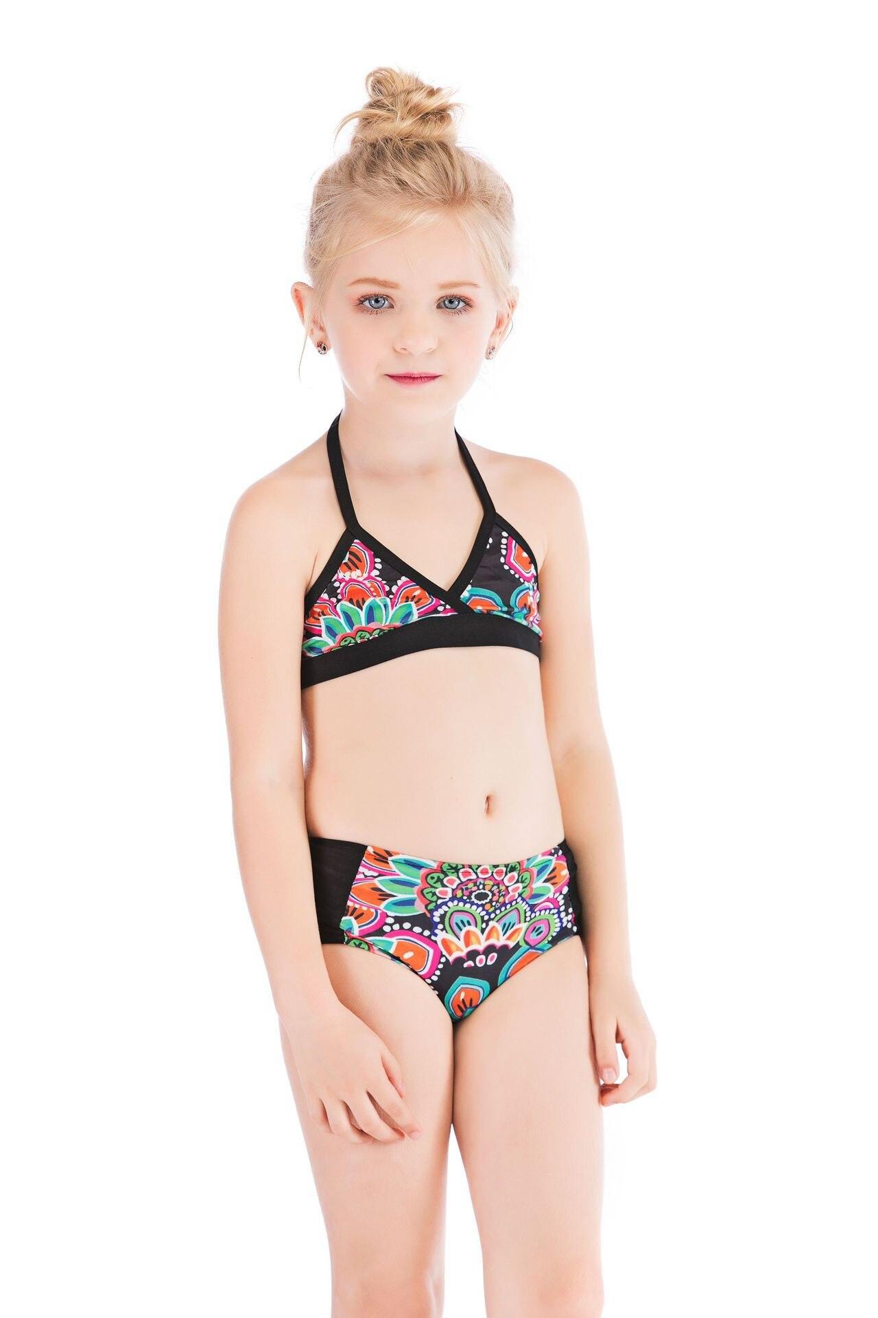 Western Style Girls' Shirt Hot Selling Bathing Suit Stripes Flower Split Type Bikini GIRL'S Swimsuit