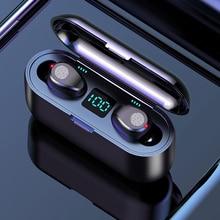 Беспроводные наушники Bluetooth 5,0 F9 TWS, беспроводные Bluetooth наушники, светодиодный дисплей, 2000 мАч, внешний аккумулятор, гарнитура с микрофоном