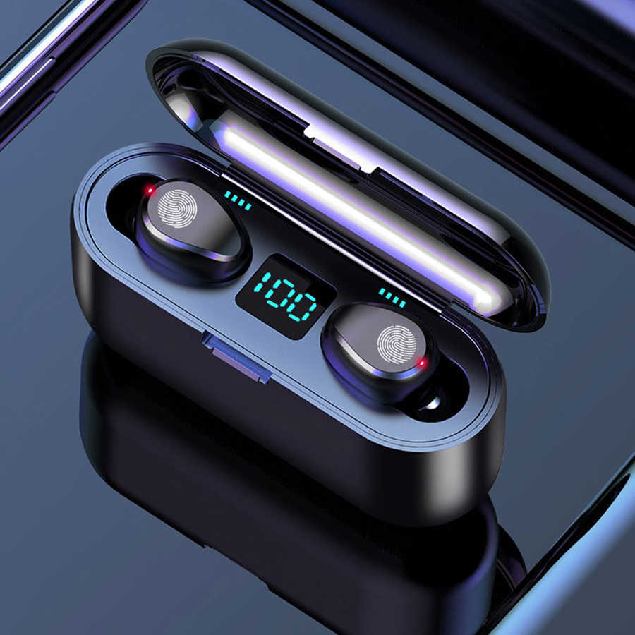 Wireless Earphone Bluetooth 5.0 F9 Tws Wireless Bluetooth Headphone LED Display dengan 2000 MAh Power Bank Headset dengan Mikrofon