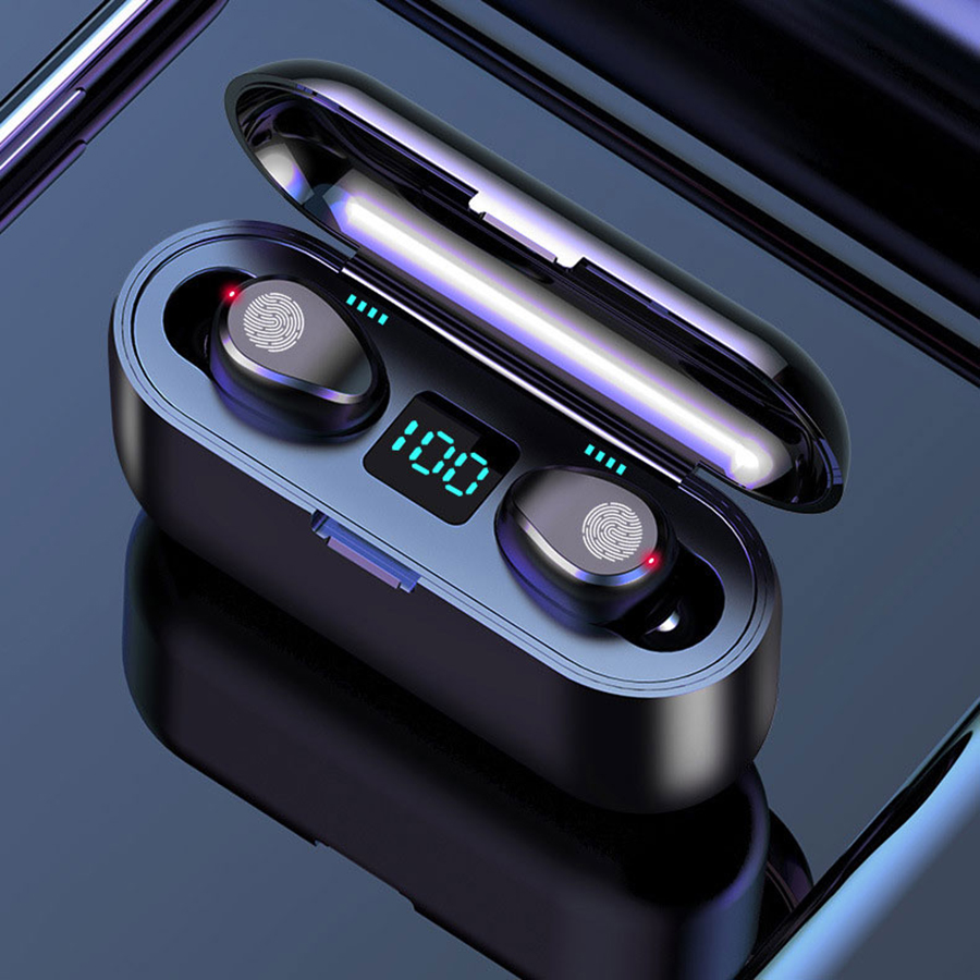 Drahtlose Kopfhörer Bluetooth 5,0 F9 TWS Drahtlose Bluetooth Kopfhörer Led-anzeige Mit 2000mAh Power Bank Headset Mit Mikrofon