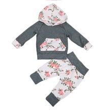 Одежда с принтом для новорожденных мальчиков и девочек хлопковая одежда с длинными рукавами толстовки с капюшоном топ+ длинные штаны, леггинсы комплект из 2 предметов для мальчиков