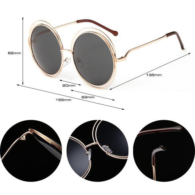Vintage Oversize Round Sunglasses Women Alloy Around Hollow Frame Brand Designer Fashion Circling Frog Sun Glasses UV400 4