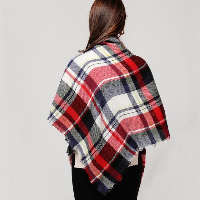 Designer knitted spring winter plaid warm cashmere shawls luxury scarf 4