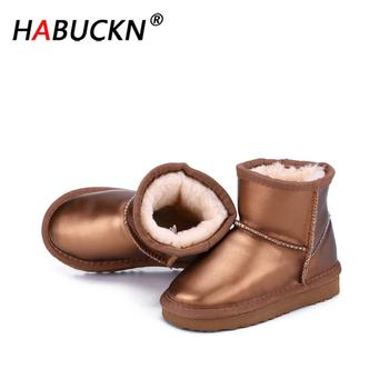 fashion 1pair winter warm waterproof snow boots comfortable children shoes kid boy girl non slip cotton padde boots HABUCKN fashion Waterproof Genuine Leather Fur Winter Boots Warm Boy and girl Snow Boots children Shoes kids black Ankle Shoes