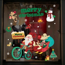 Christmas Decoration For Windows Stickers Christmas Wall Sticker Merry Christmas Household Removable Glass Wall Sticker New Year цена 2017