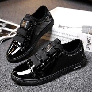 Glossy Leather informal Shoes Banquet Light Erkek Ayakkabi Men Leisure Shoes Resistant Male Hook&Loop Casual Sports Footwear