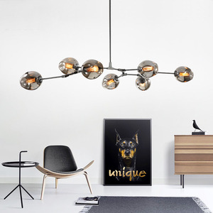 Image 3 - Nordic Industrial Style LED Ceiling Lights Glass Ceiling Lamp Restaurant Hanging Lamp Living Room Lamp Bedroom Cafe