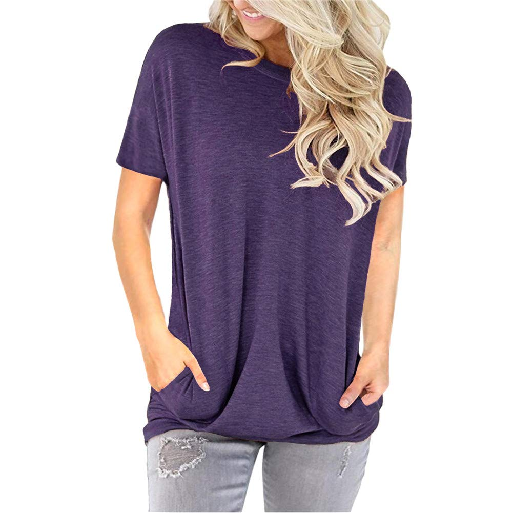 Womens Casual Tunic Tops Pocket T Shirt  & Sleeves Solid Color&Tie Dye  Super Comfy