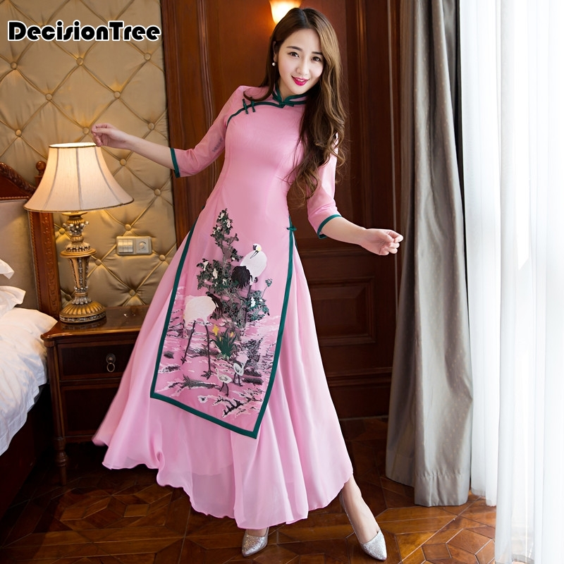 2020 Ao Dai Cheongsam Folk Style Vietnam Chiffon Aodai Stand Collar Elegant Women Chinese Traditional Dress Qipao Chinese Dress
