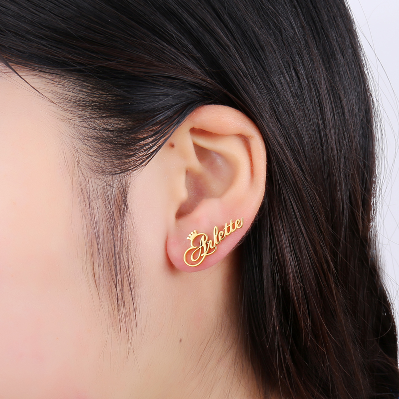 Goxijite Personalized Name Earring For Women Stainless Steel Custom Gold Cursive Font Nameplate Stud Earring Friend Jewelry Gift