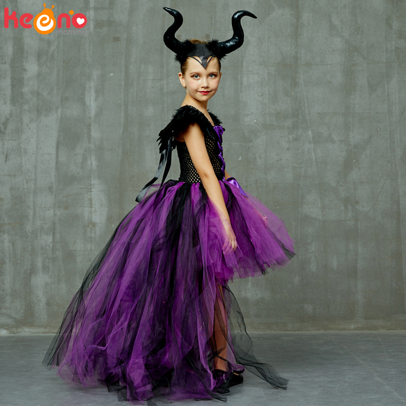 Halloween Maleficent Evil Dark Queen Girls Tutu Dress with Horns Wicked Witch Kids Cosplay Party Ball Gown Costume Fancy Clothes 3