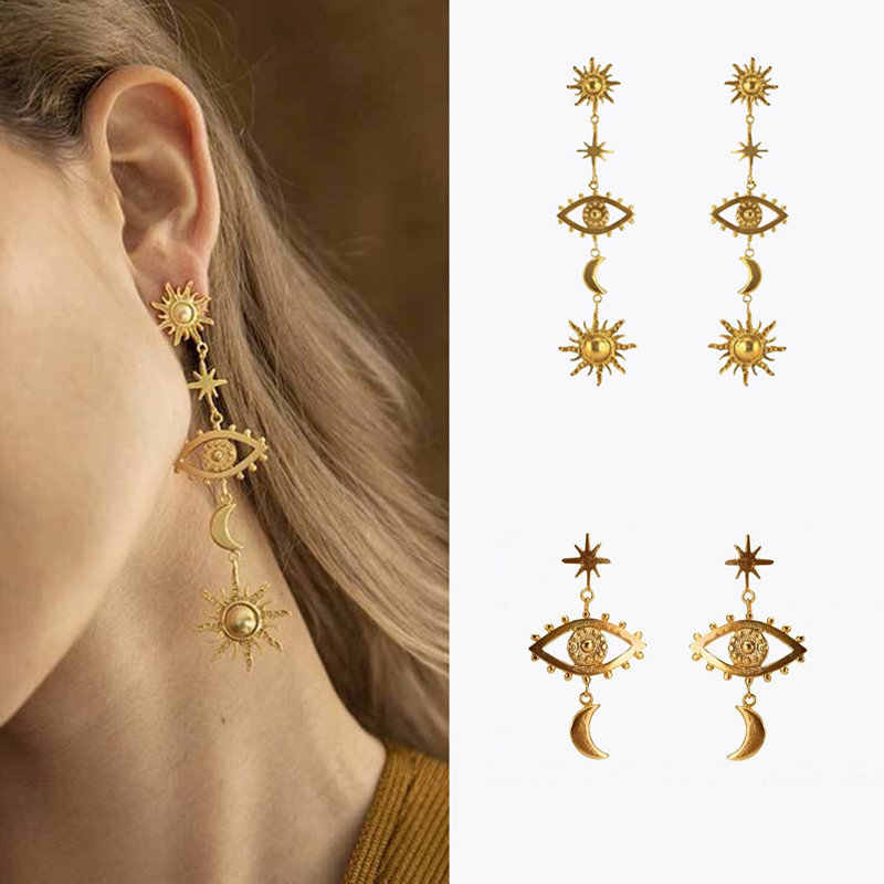 AOMU 2019 New Vintage Metal Gold Color Sun Star Moon Evil Eye Earrings For Women Long Statement Drop Earring Boho Jewelry Set