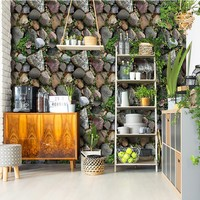 Simulation PVC Removable Wall Sticker 3D Plant Stone Wallpaper Home Decor House Bedroom Sticker DIY Glass Window Decoration