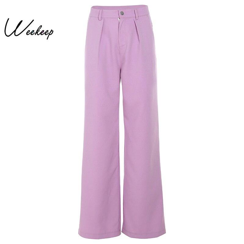 Weekeep High Street   Wide     Leg     Pants   Women High Waist Trousers 2019