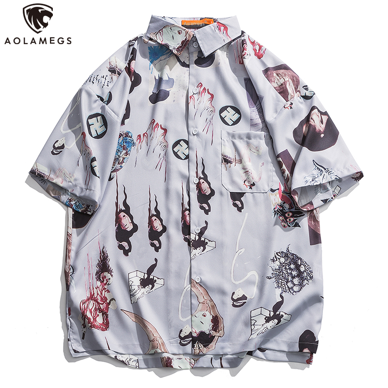 Aolamegs Shirt Japanese Ancient Culture Retro Printed Short Sleeve Hawaiian Shirts Men Casual Breathable Cozy Streetwear Summer