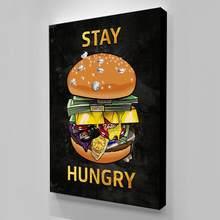 Arte da parede modular hamburger canvas imagens ficar com fome casa decoração dinheiro quadros de pintura luxo cartaz sala cuadros quadro