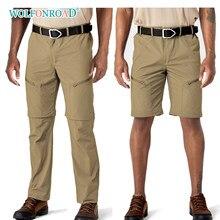 Wolfonroad calças de carga convertiable ao ar livre dos homens verão secagem rápida caminhadas curtas calças leve viagem acampamento shorts