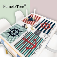 2/4/6Pcs Nautical Anchor Decor Pattern Kitchen Placemat Sea Ocean Dining Table Mat Tea 42*32Cm Coaster Linen Pad Bowl Cup Mats