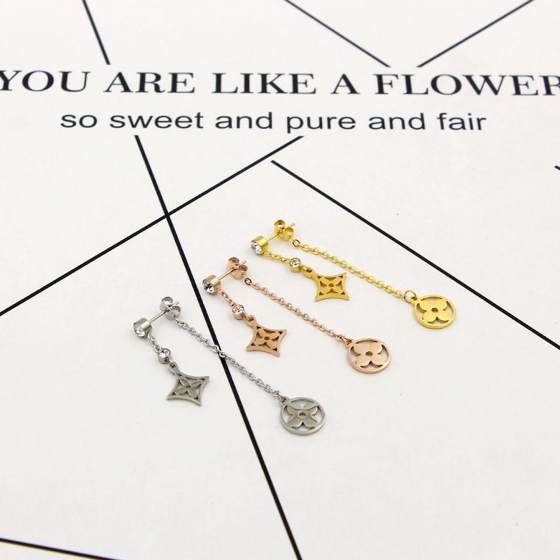 Cute Double Flower Drop Earrings for Women Stainless Steel pendientes CZ Earrings 2020 aretes Collier Female Wedding Gift