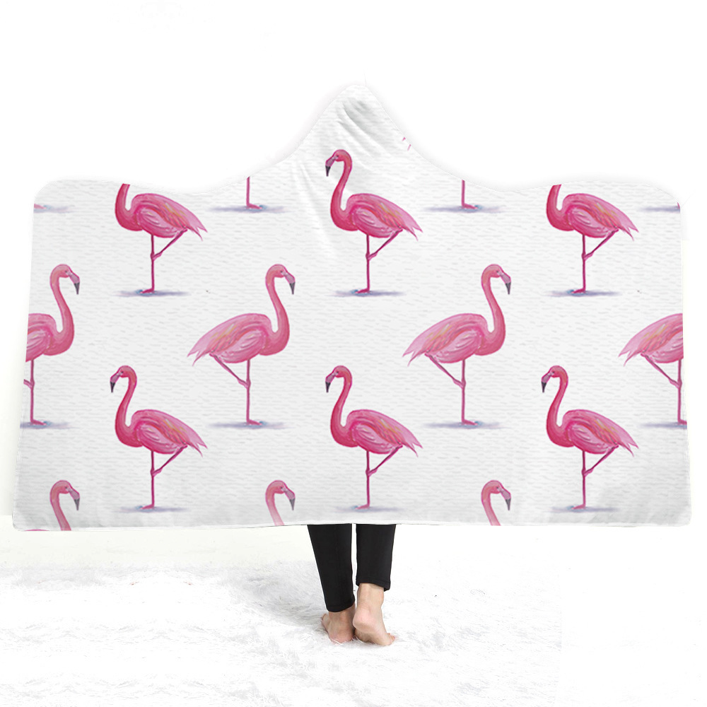 Flamingo Hooded Blanket For Adults Childs 3D Printed Plush Portable Blanket Wearable Warm Throw Blanket For Home Travel Picnic in Blankets from Home Garden