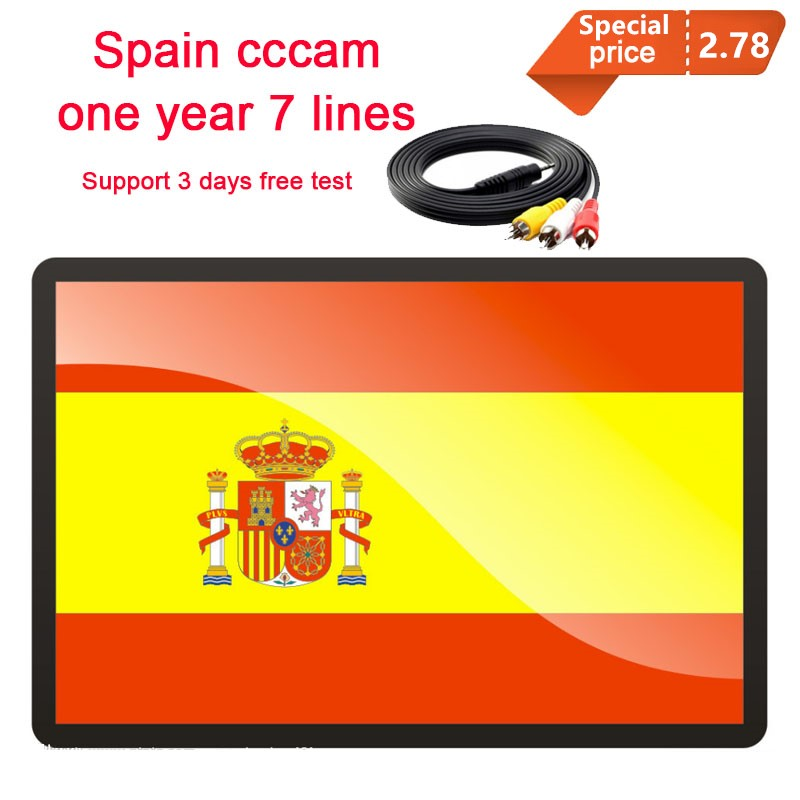 One Year Cccams For Europe Spain Portugal Satellite Tv Receiver 7 Lines Clines FULL HD DVB-S2 Support Cccam