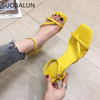 SUOJIALUN 2020 Summer Women Sandals Ankle Strap Square Low Heel Dress Shoes Fashion Narrow Band Outdoor Sandal Slides Shoes newest women solid pink and black ankle buckle strap strange transparent heel sandal summer peep toe square heel shoes free ship